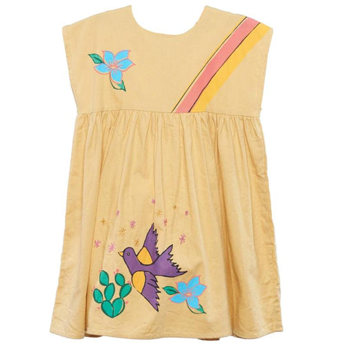Girls yellow short sleeve dress with rainbows and flowers
