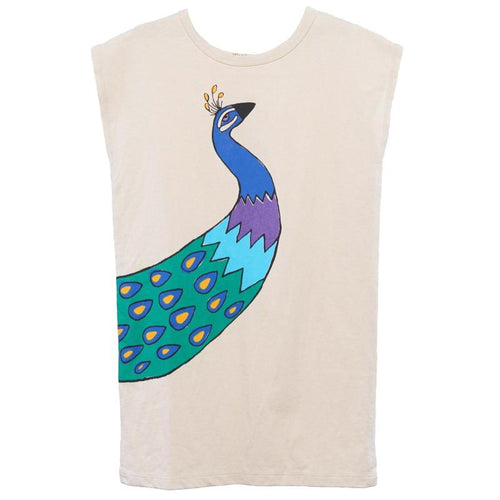 Girls short sleeve cream dress with peacock graphic