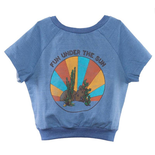 Girls denim blue short sleeve top with desert graphic