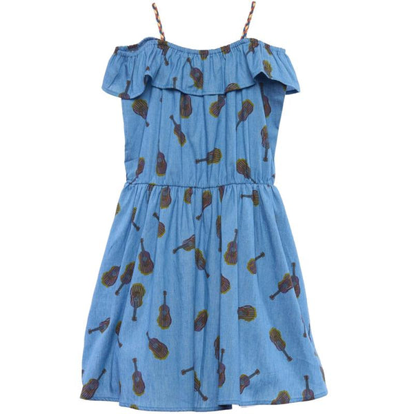 Girls denim blue dress with guitar print
