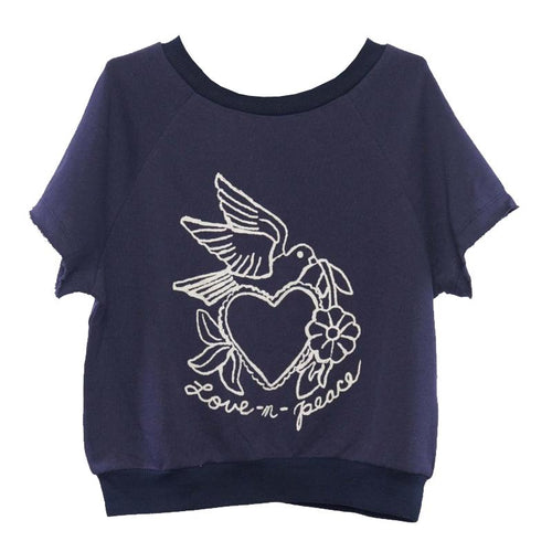 Girls navy short sleeve top with peace and love graphic