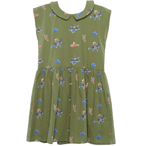 Girls green short sleeve dress with pony print and collar