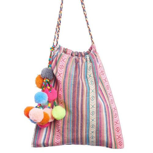 Girls pink stripe bag with pom pom trim