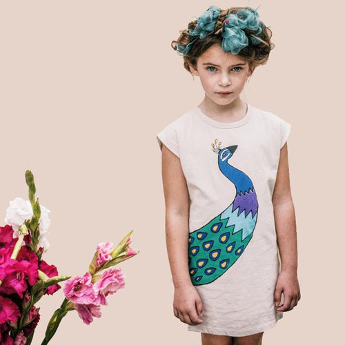 Short sleeve cream dress with peacock graphic for girls