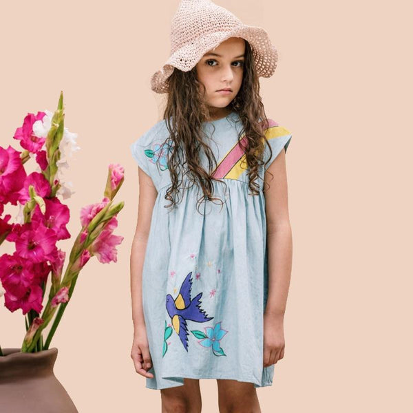 Girls light blue short sleeve dress with rainbow and flower