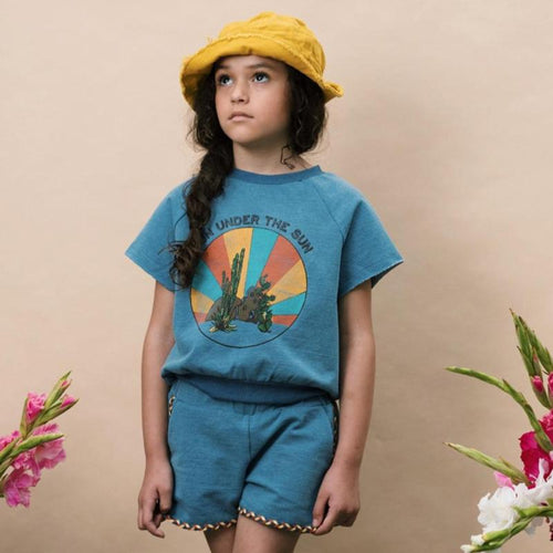 Denim blue short sleeve top with desert graphic for girls