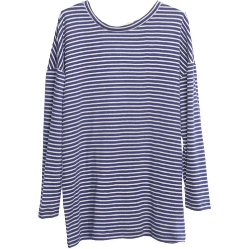 Girls navy stripe tunic length long sleeve tee