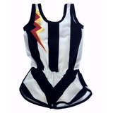 Girls black and white stripe jersey romper with thunderbolt graphic