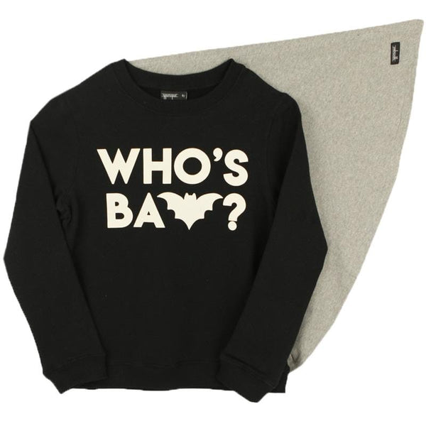 Yporque who's bat boys black sweatshirt with cape