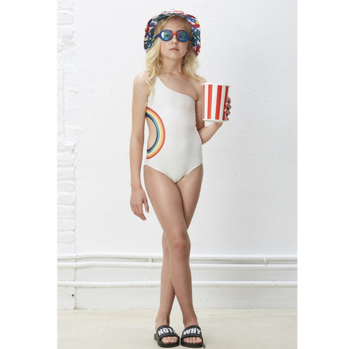 White one piece girls swimsuit with rainbow cutout