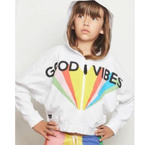 Yporque good vibes white graphic pullover girls hoodie sweatshirt