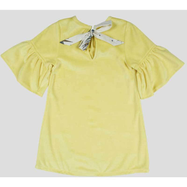 Yellow velour girls dress by Pink Chicken