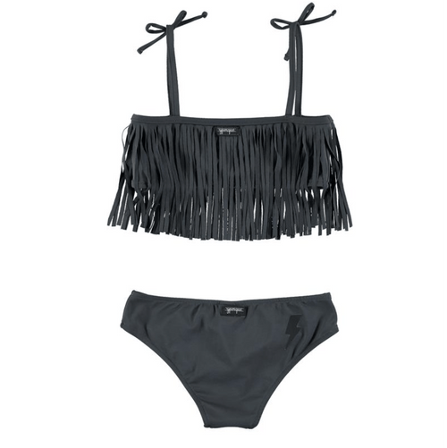 YPorque grey fringe girls two piece swimsuit