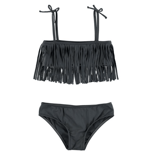 YPorque grey fringe girls two piece bikini swimsuit