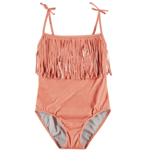 Yporque orange fringe one piece girls swimsuit