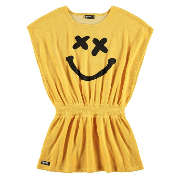 Yporque yellow short sleeve Terry girls dress and swim cover up