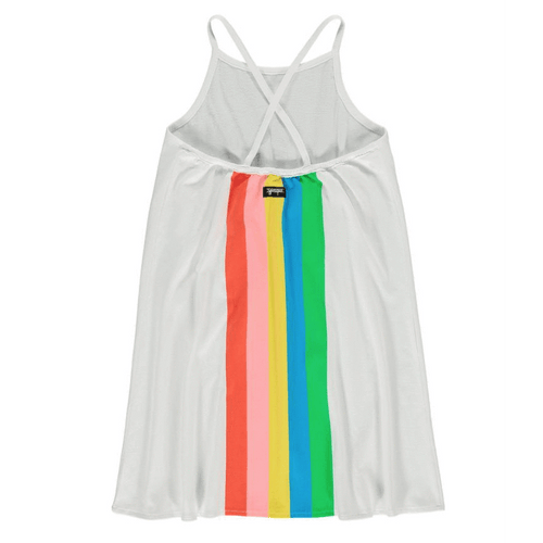 Yporque white rainbow good vibes sleeveless girls dress