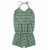Yporque green stripe jersey girls romper