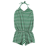 Yporque green stripe knit girls romper jumpsuit