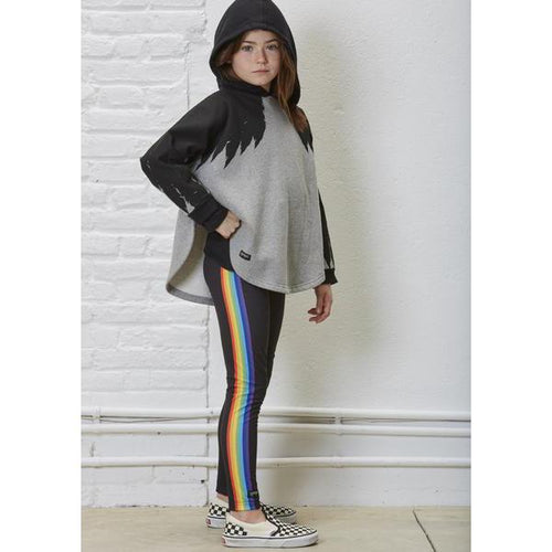 Yporque Wings Hooded Poncho Sweatshirt on girl with rainbow leggings