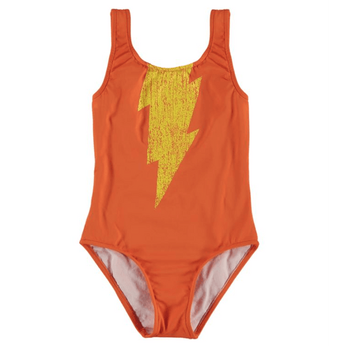 Yporque orange lightning bolt one piece girls swimsuit