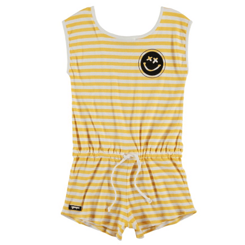 Yporque yellow stripe knit girls romper jumpsuit
