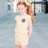 Yporque yellow stripe knit tween girls romper jumpsuit