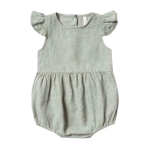 Rylee and cru green linen short sleeve baby girl romper bubble