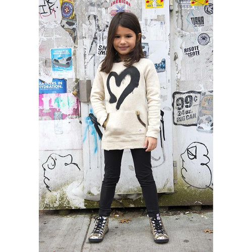 Appaman girls black skinny leggings and heart sweatshirt