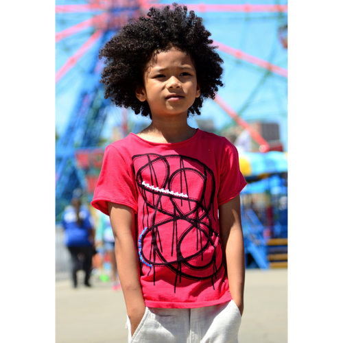 Red short sleeve tee with rollercoaster graphic for boys