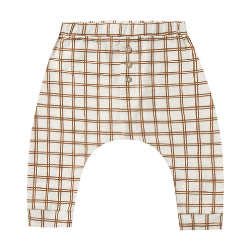 Rylee and cru brown check jersey baby pants