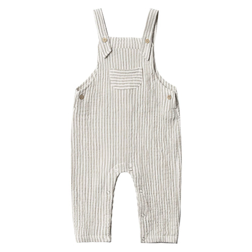 Rylee and cru olive stripe baby overalls