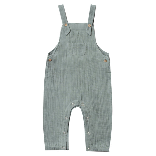 Rylee and cru blue crepe baby overalls