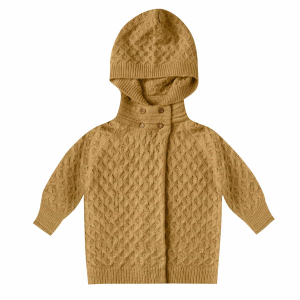 Rylee and cru mustard hooded baby girl sweater