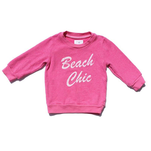 Dark pink girls sweatshirt with white BEACH CHIC graphic