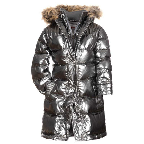 Appaman Long Down Girls' Coat - Sparkle Black
