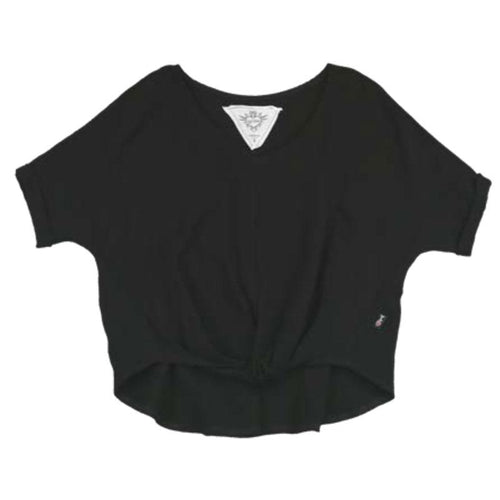 Black V Neck tween tee shirt with roll bottom