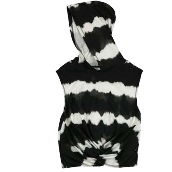 Black and white tie dye sleeveless tween girls hoodie with knotted front
