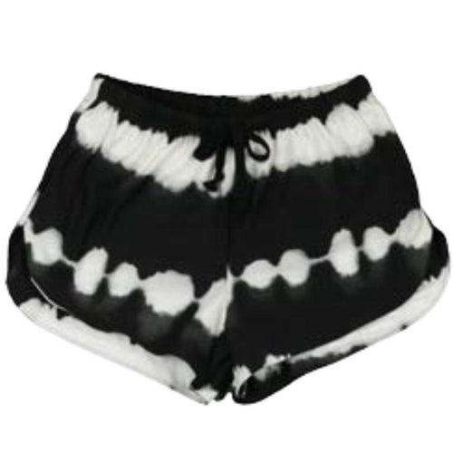 Black and white tie dye shorts for tween girls