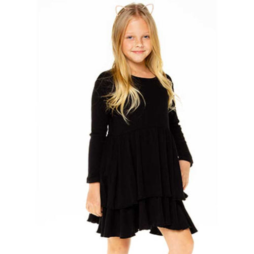 Chaser Black Ribbed Tiered Peplum Girls Dress