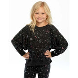 Chaser Love Knit Planets Boxy Cropped Girls Sweatshirt