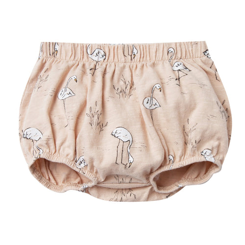 Baby girl light pink bloomers with allover flamingo print
