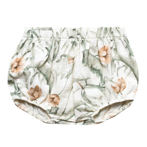 Baby gir knit bloomers with tropical print