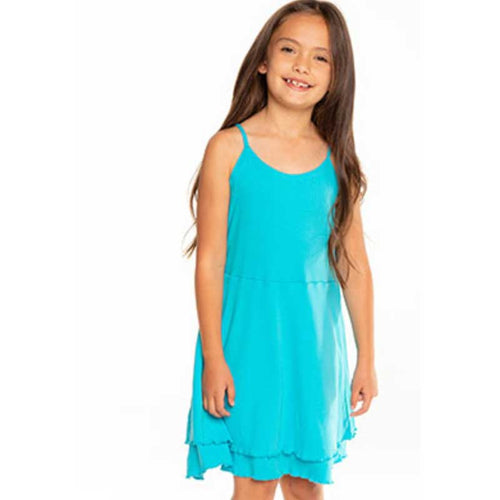 Chaser Poolside Blue Ribbed Cami Girls Dress