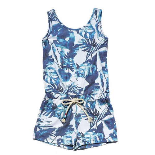 Girls tank shorts romper with elastic waist and blue leaf print