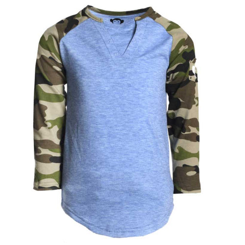 Appaman Baseball Boys T Shirt - Green Camo Sleeves