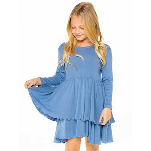 Blue Ribbled Tiered Girls Dress