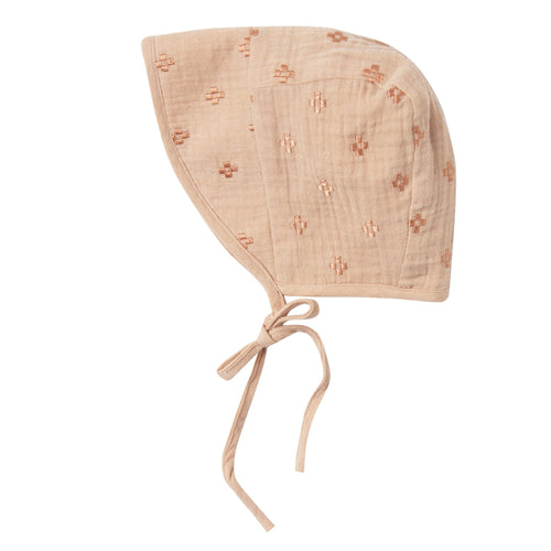 Baby girl pink embroidered bonnet with tie at chin