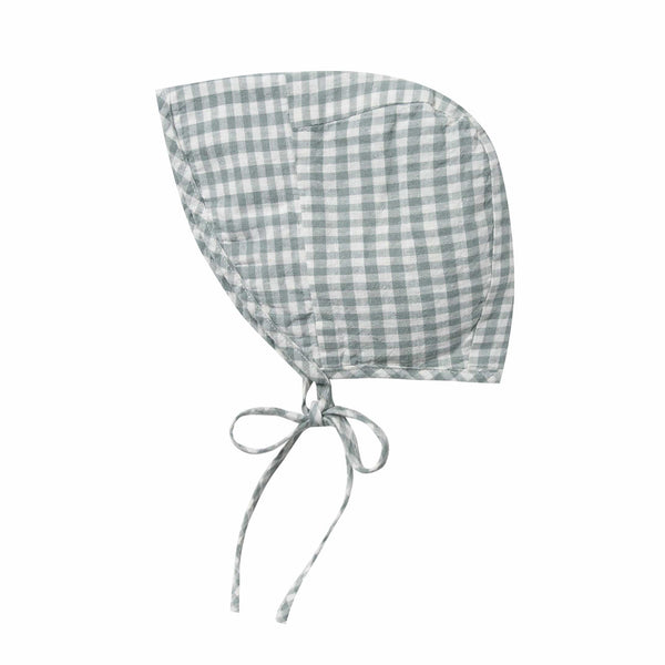 Rylee and cru blue gingham baby bonnet