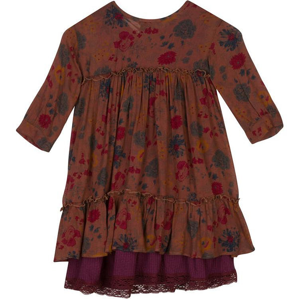 Fall floral vintage girls dress with burgundy slip